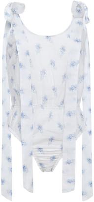 LoveShackFancy Mandy Bow-detailed Floral-print Cotton-voile Bodysuit