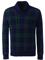 Lands' End Men's Lambswool Plaid Pullover Shawl Collar Sweater-Blue