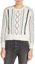 Maje Women's Twisted Faux Leather Trim Sweater