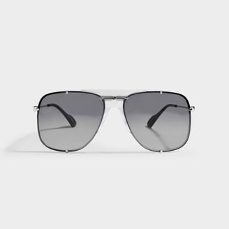 Gucci Silver Aviator Sunglasses In Metal