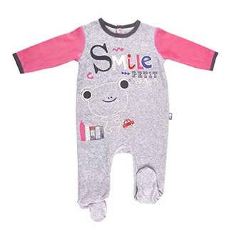 Camilla And Marc Baby Velour Pyjamas Smile Girl Heather Grey - Size 6 Months (68 cm)