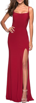 La Femme Square-Neck Sleeveless Caged Strappy-Back Gown with Slit