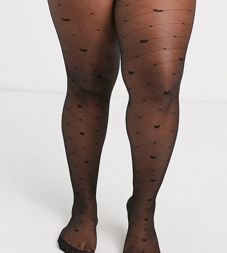 ASOS DESIGN Curve heart and diamond tights