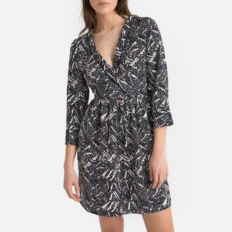 Vero Moda Flared Printed Wrapover Dress with Long Sleeves