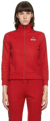 Gucci Red GG Cherries Zip-Up Sweater