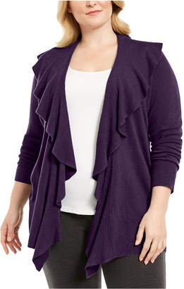 Karen Scott Plus Size Ruffle Neckline Cardigan Sweater