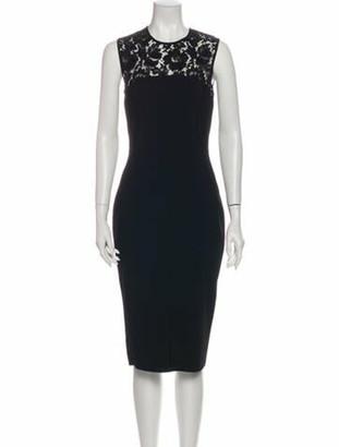 Valentino Crew Neck Midi Length Dress w/ Tags Black