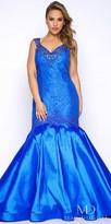 Mac Duggal Embellished Lace Up Back Mermaid Plus Size Evening Dress