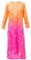 Juliet Dunn Ombre Sequin-embroidered Silk Kaftan - Womens - Orange Multi