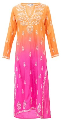 Juliet Dunn Ombre Sequin Embroidered Silk Kaftan - Womens - Orange Multi