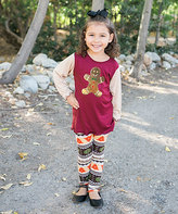 Beary Basics Burgundy & Gold Gingerbread Tunic & Fair Isle Leggings - Toddler & Girls