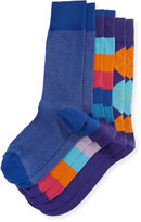 Neiman Marcus Three-Pair Graphic Sock Set, Multi