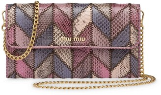 Miu Miu Ayers wallet with chain-link shoulder strap