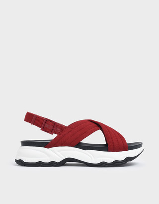 Charles & Keith Nylon Criss Cross Chunky Platform Sandals