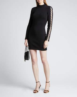 Jonathan Simkhai Directional Rib Long-Sleeve Mini Dress w/ O-Rings