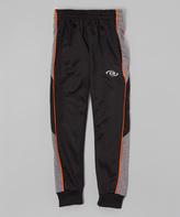 CB Sports Black & Orange Track Pants - Boys