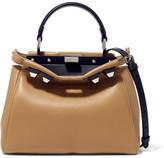 Fendi Peekaboo Mini Studded Leather Shoulder Bag - Taupe