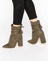 Missguided Wrap Around Block Heel Ankle Boots