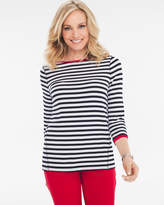 Chico's Stripe Blocked Tee