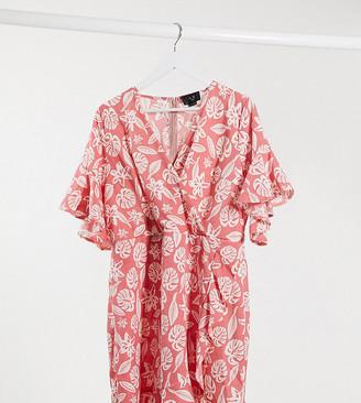 AX Paris Plus ruffle wrap dress in tropical