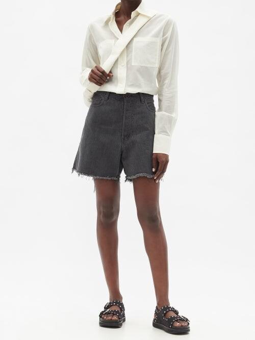 Thumbnail for your product : Kuro Asymmetric High-rise Denim Shorts - Black