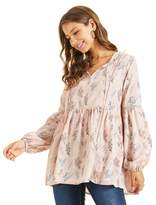 Sonja Betro SONJA BETRO Printed Floral Notch Tie Neck Long Balloon Sleeve Empire Babydoll Tunic Top Fashion/102PINK Print/Medium