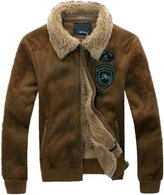 JIAX Men's Vintage Military Jacket Suede Lamb Wool Coat Faux Leather Jacket (2X-Large, CABrown)