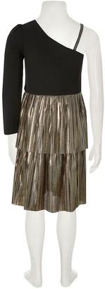 River Island Girls One Shoulder Tiered Frill Dress-Black