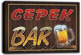 AdvPro Canvas scw3-078593 CEPEK Name Home Bar Pub Beer Mugs Cheers Stretched Canvas Print Sign