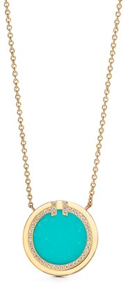 Tiffany & Co. T diamond and turquoise circle pendant in 18k gold