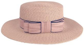 CHIC DIARY Women Bowknot Straw Hat Summer Fedoras Wide Brim Sun Hat (Pink)