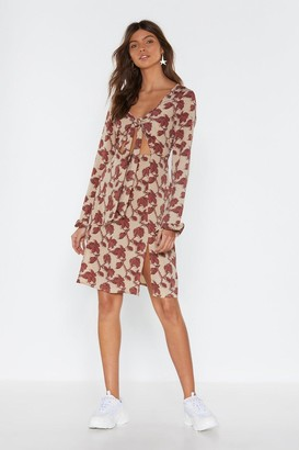 Nasty Gal Womens Find Your Roots Floral Tie Dress - Natural