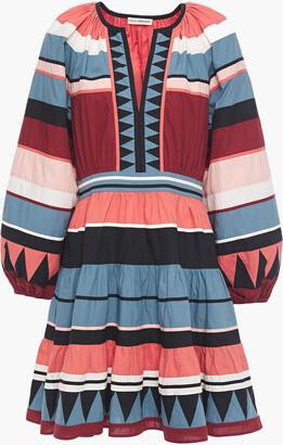 Ulla Johnson Mika Embroidered Striped Cotton-poplin Mini Dress