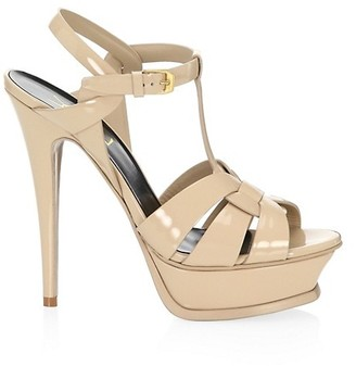Saint Laurent Tribute 135MM Patent Leather Platform Sandals