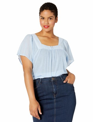 Lucky Brand Women's Plus Size Square Neck Flutter TOP