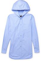 Balenciaga Striped Cotton-poplin Hooded Shirt - Blue