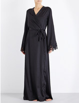 I.D. Sarrieri Long stretch-silk-satin and lace robe