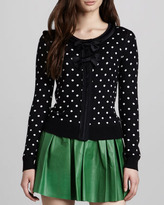Alice + Olivia Lewin Polka-Dot Double-Bow Cardigan