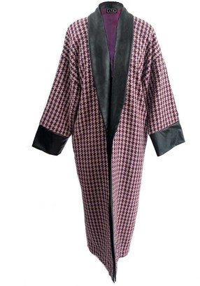 L2r The Label Houndstooth Wool & Vegan Leather Slouchy Coat