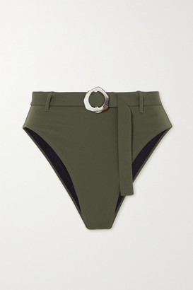 Fisch + Space For Giants + Net Sustain Garbo Embellished Bikini Briefs - Army green
