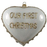 Nordstrom Our First Christmas Handblown Glass Heart Ornament