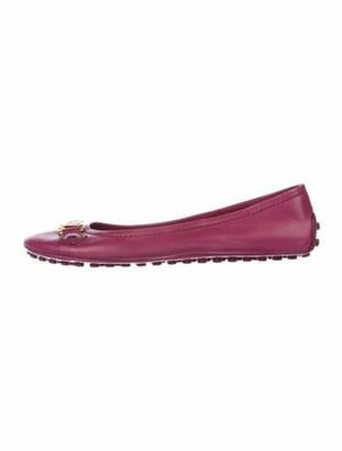 Louis Vuitton Signature Logo Leather Ballet Flats Pink