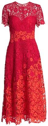 Theia Lace A-Line Midi Dress