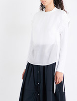 Izzue Ruched-sleeve gauze top
