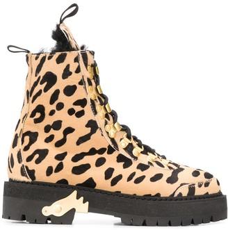 Off-White Cheetah-Print Combat Boots