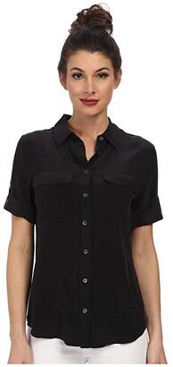 Equipment Short Sleeve Slim Signature (True Black) Women's Blouse