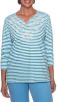 Alfred Dunner Bonita Springs 3/4 Sleeve Split Crew Neck Stripe T-Shirt-Womens