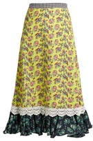 House of Holland Floral-print cady midi skirt