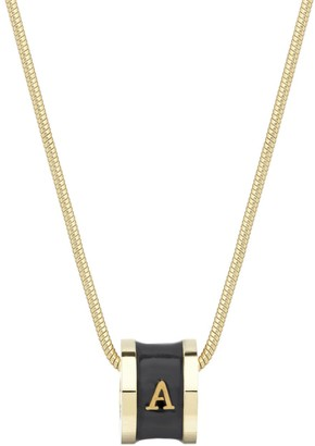 Florence London Initial A Necklace 18Ct Gold Plated With Black Enamel