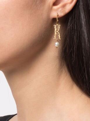 Simone Rocha pearl-embellished K letter single earring